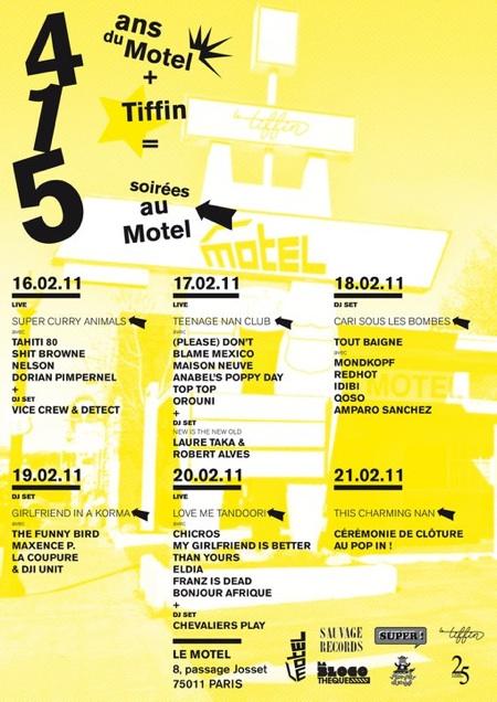 4 ans du Motel + 1 Tiffin = 5 soirées au Motel