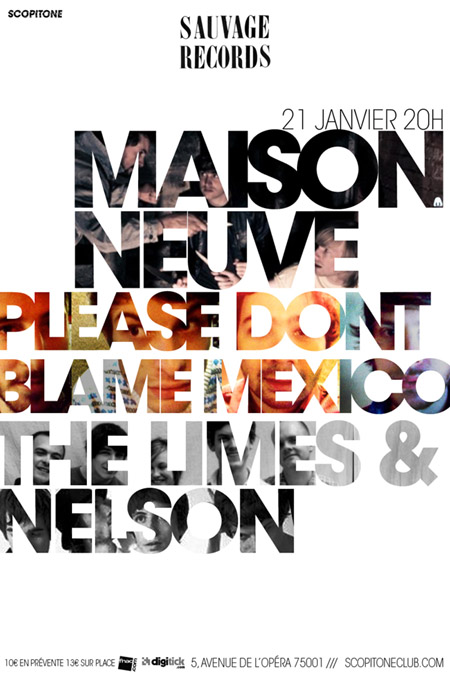Sauvage night at Scopitone, Paris, with Maison Neuve, (Please) Don't Blame Mexico, The Limes and Nelson