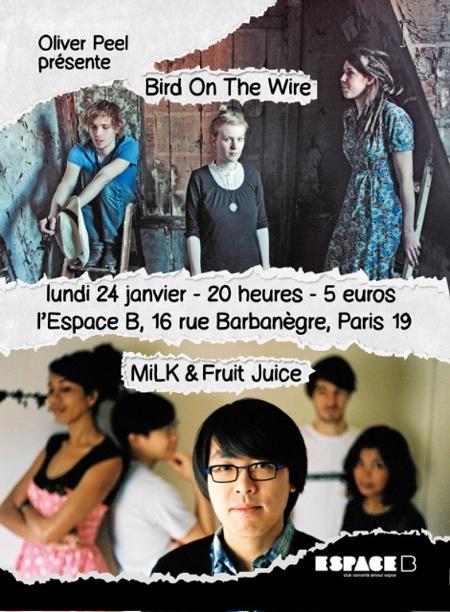 Bird On The Wire + MiLK & Fruit Juice @ Espace B, Paris