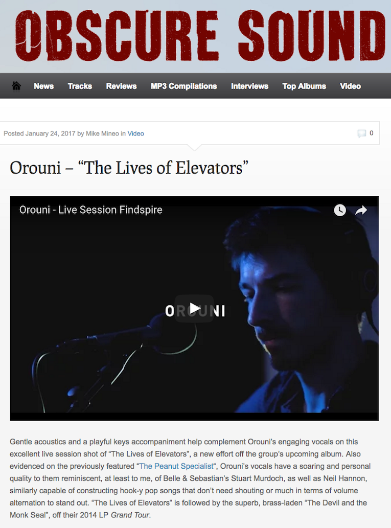Orouni - The Lives Of Elevators (Findspire session) - Obscure Sound