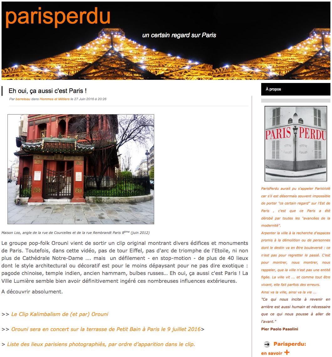 Orouni - Paris perdu