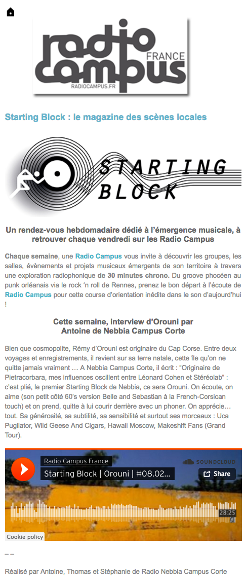 Orouni - Starting Block - Radio Campus France - Nebbia Corte
