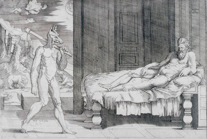 Agostino Veneziano - Lycaon & Jupiter