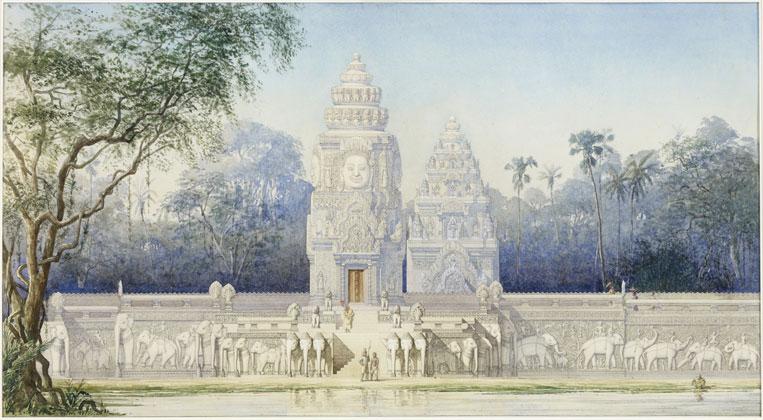 Louis Delaporte - Angkor - Vue idéale du perron sud de la terrasse des éléphants
