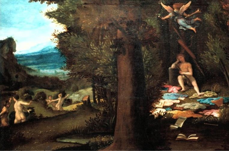 Lorenzo Lotto - Sleeping Apollo, Muses and Fama