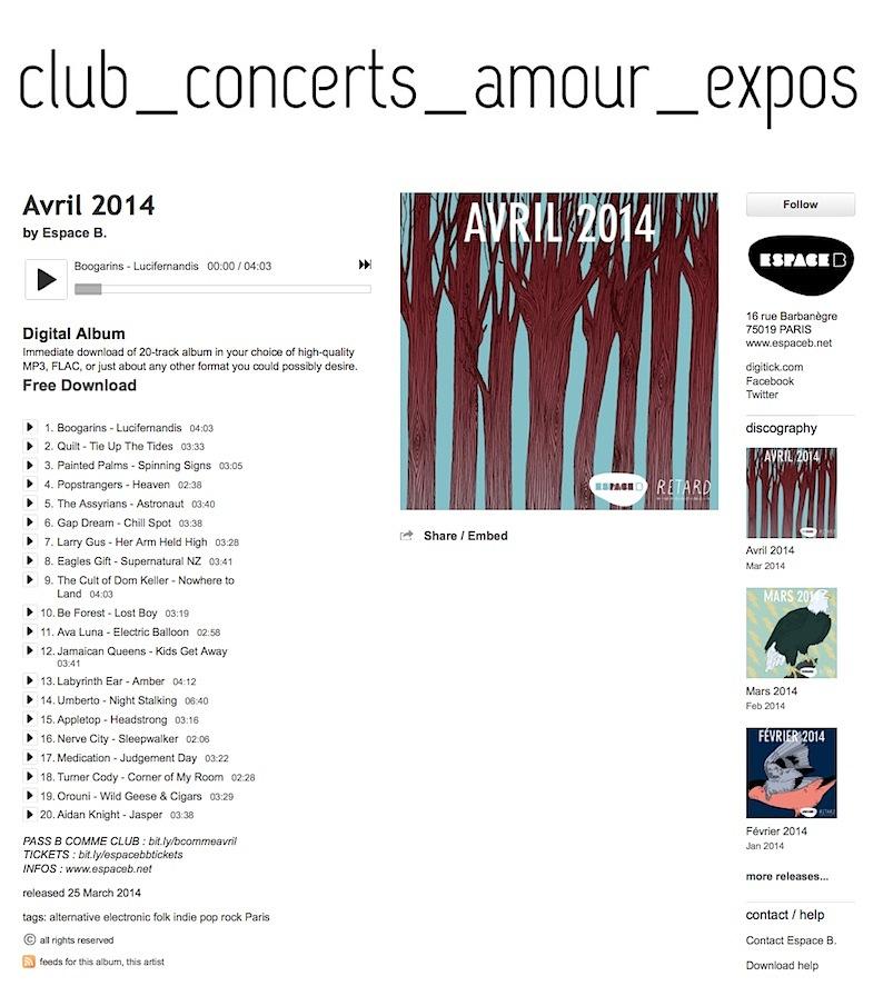 Espace B playlist - April 2014