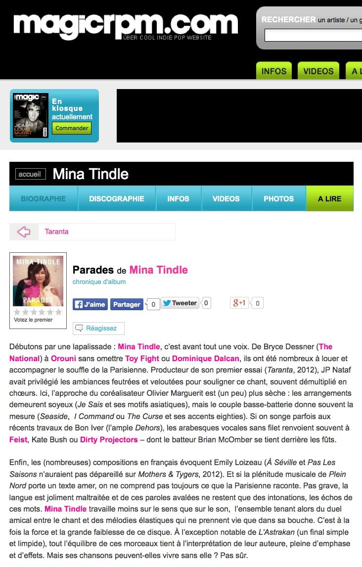 Mina Tindle - Parades - Magic