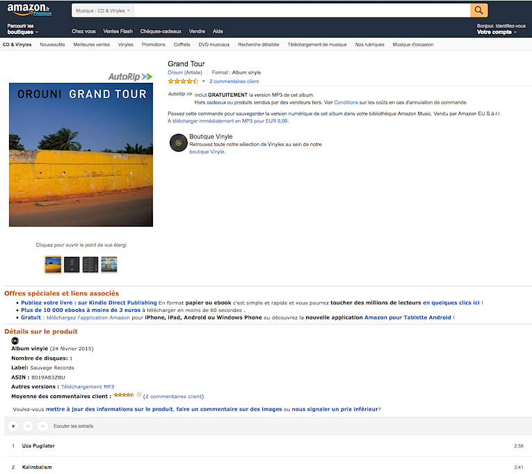 Orouni - Grand Tour vinyl @ Amazon