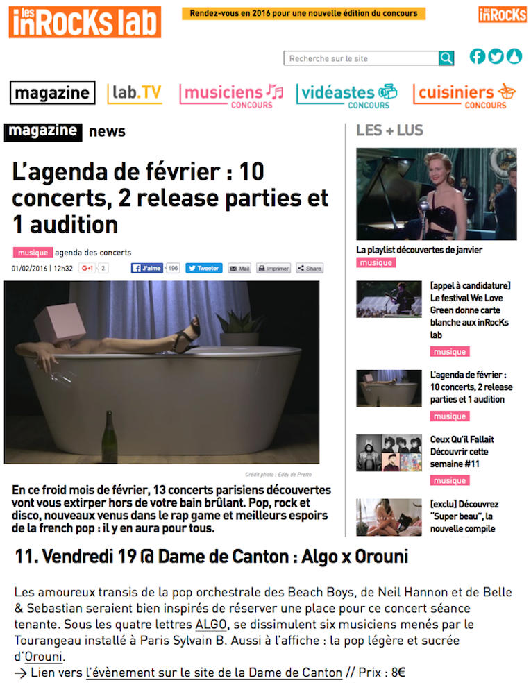 ALGO + Orouni - Les Inrocks Lab