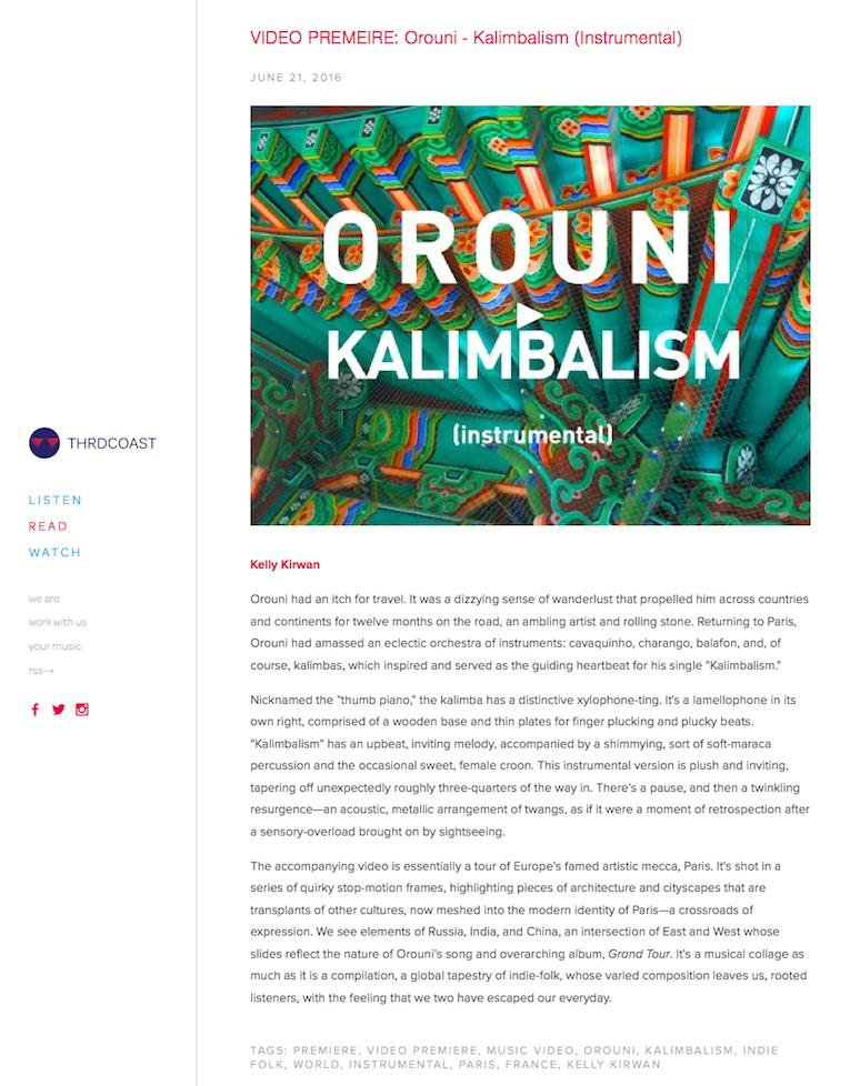 Orouni - THRDCOAST - Kalimbalism video premiere