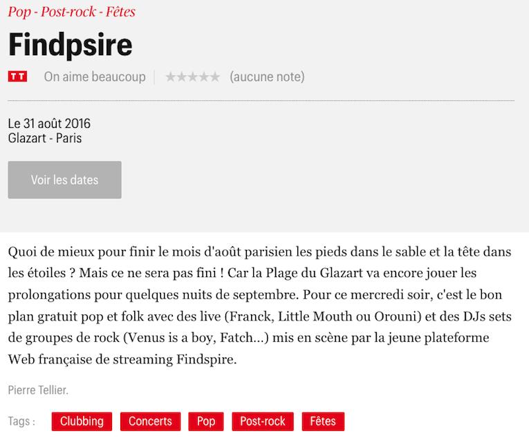 Télérama Sortir - Findspire @ La Plage de Glazart - Orouni