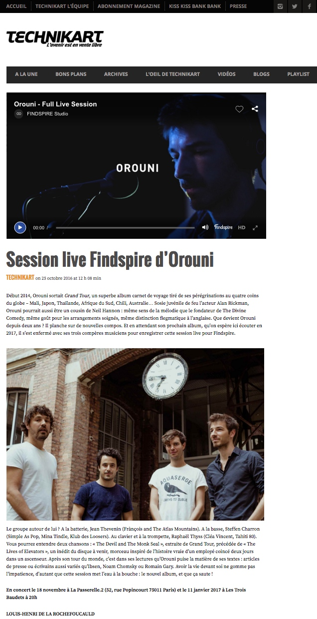 Findspire session / Orouni / Technikart