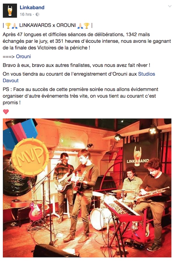 Orouni - Linkaband award - Studios Davout