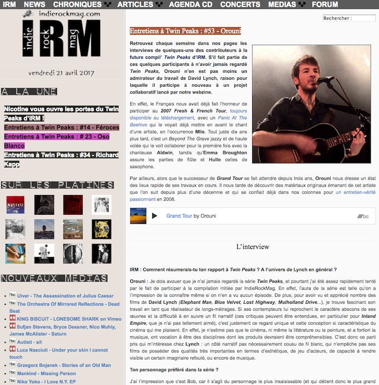 Orouni - Interview for Indie Rock Mag's Twin Peaks compilation