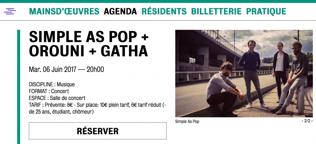 Simple As Pop + Orouni + Gatha @ Mains d'Œuvres