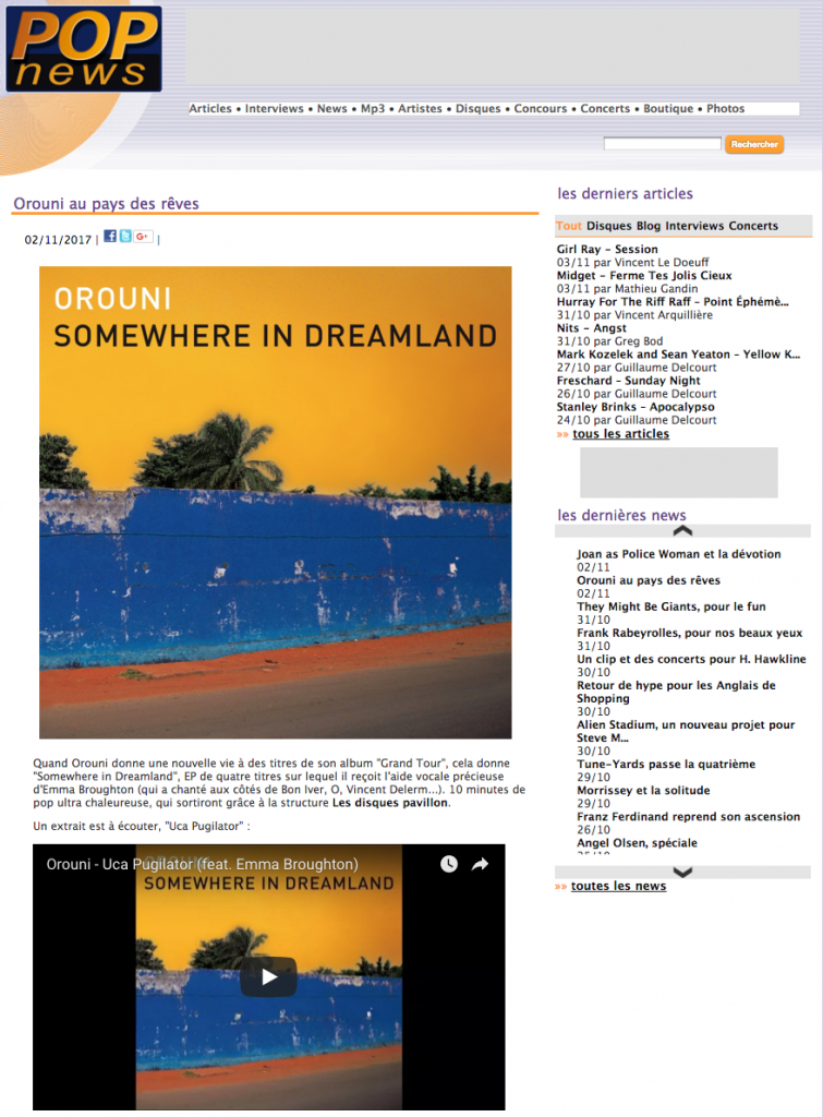 Orouni - POPnews - Somewhere In Dreamland