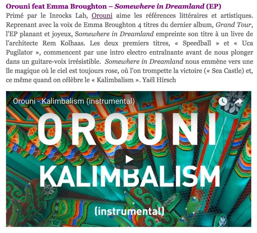 Orouni - Toute la culture - Somewhere In Dreamland