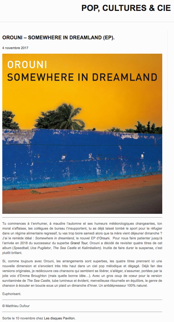Orouni - Pop, cultures & cie - Somewhere In Dreamland
