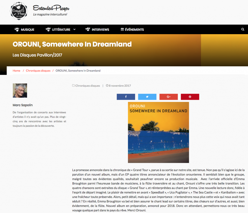 Orouni - Extended Player - Somewhere In Dreamland