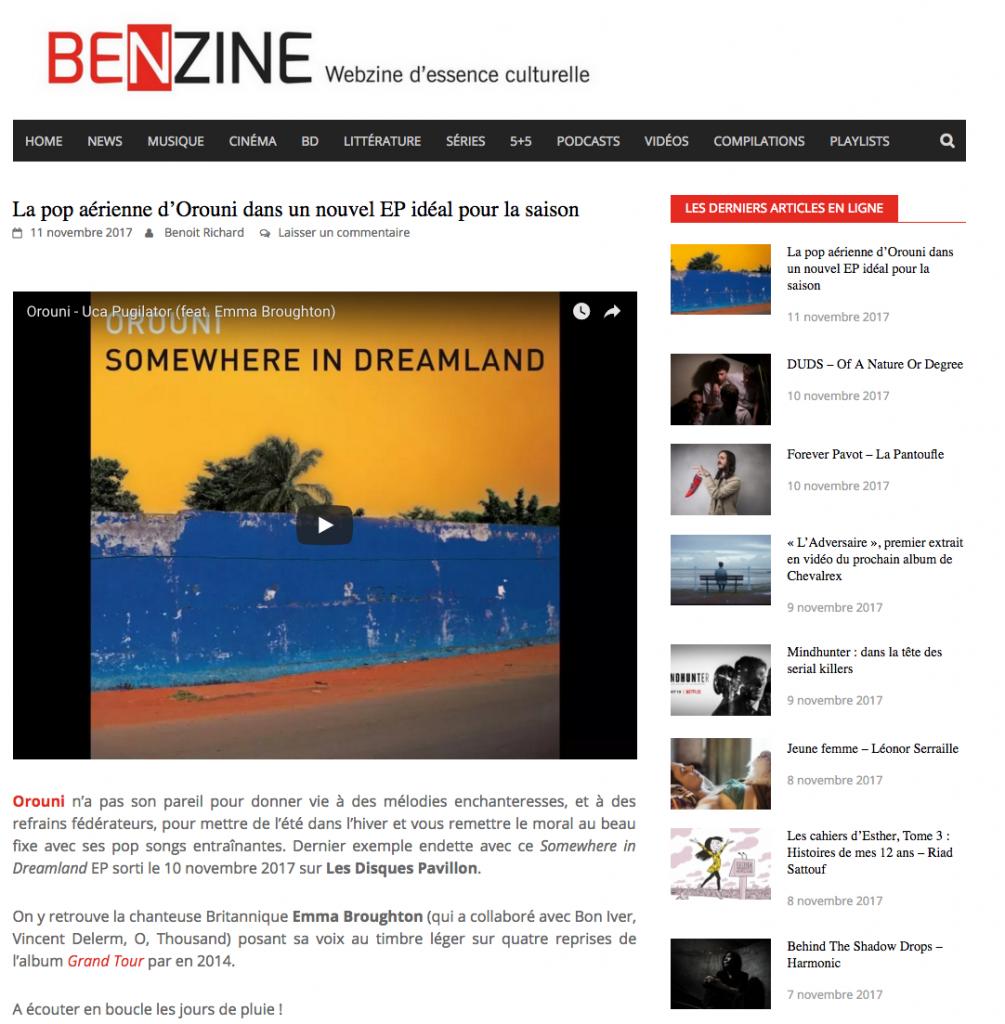 Orouni - Benzine - Somewhere In Dreamland