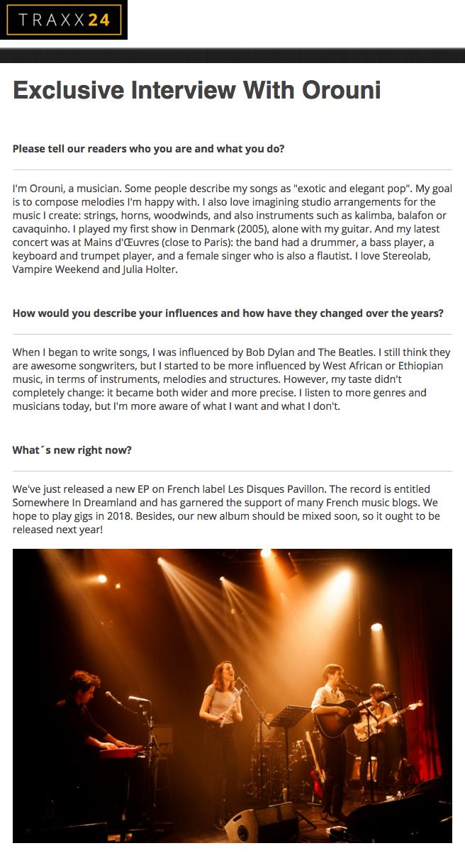 Orouni - Traxx24 - Interview