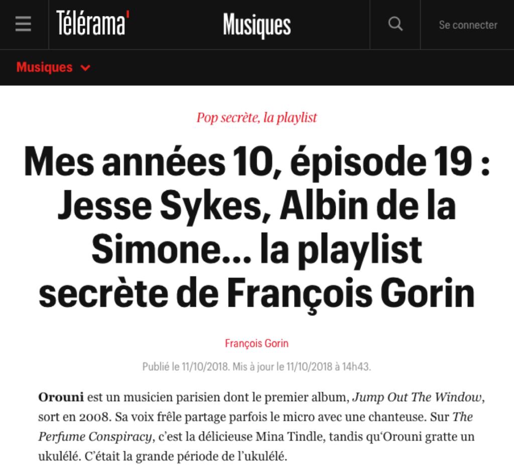 Orouni - Playlist secrète de François Gorin (Télérama)