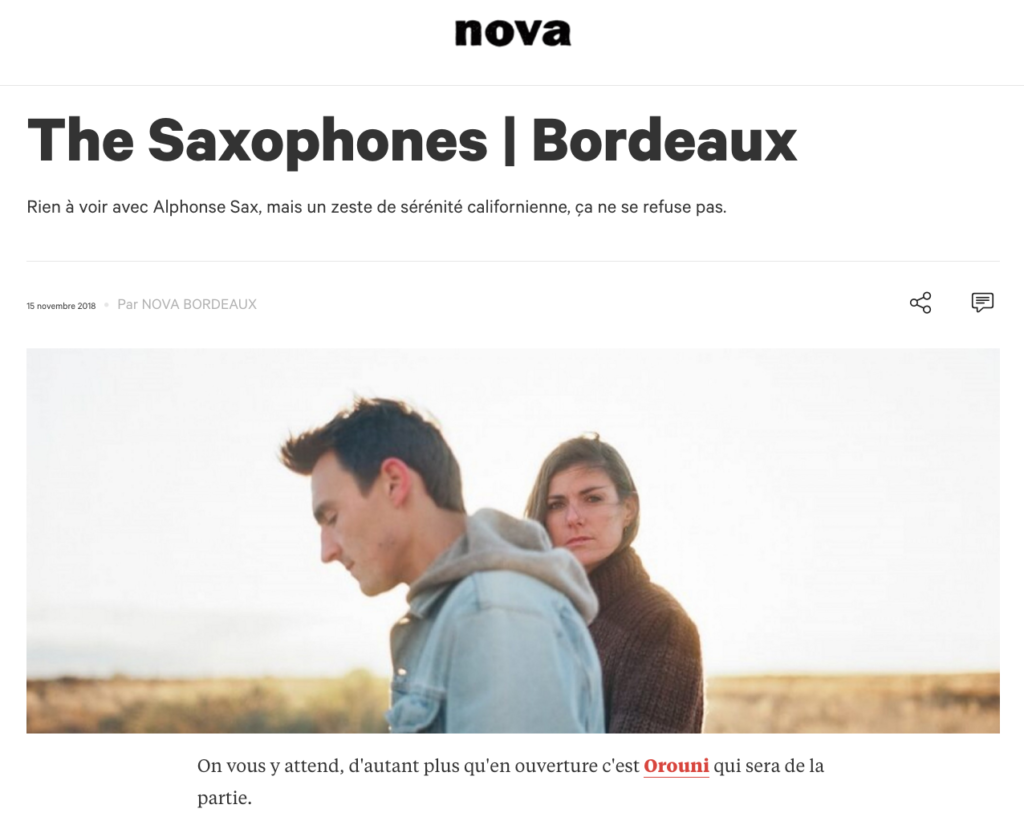 Orouni + The Saxophones - IBOAT - Radio Nova