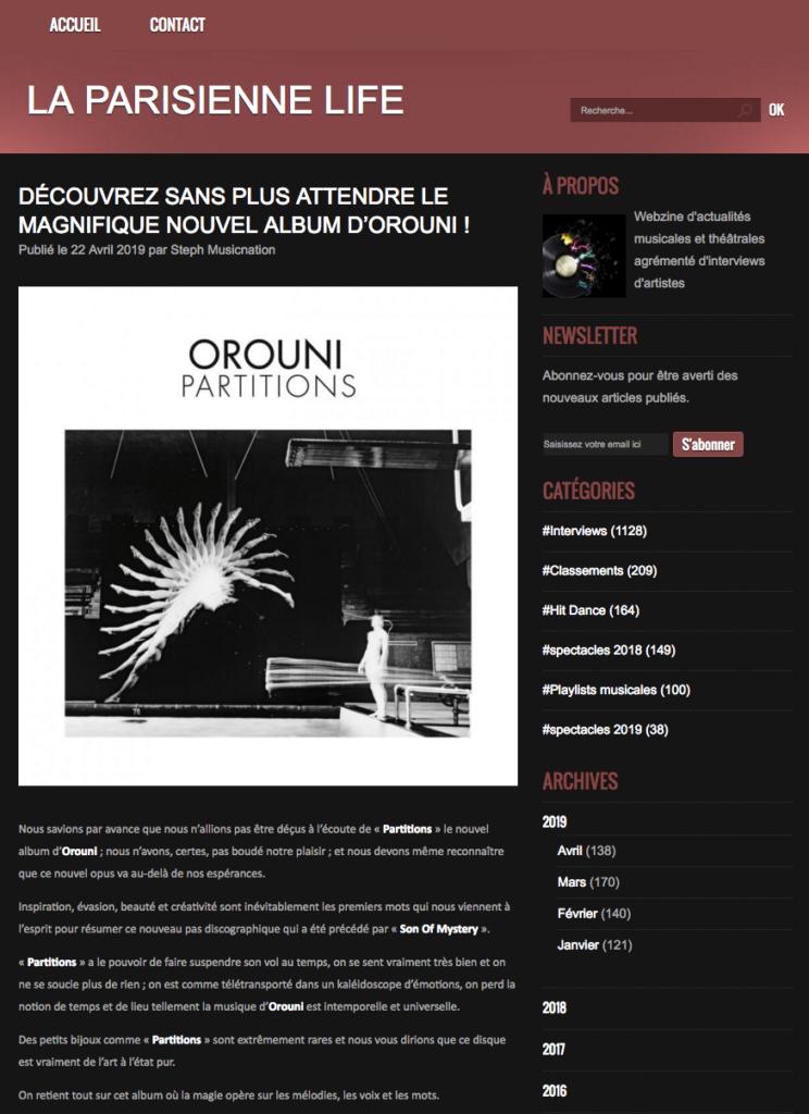 Orouni - La Parisienne Life