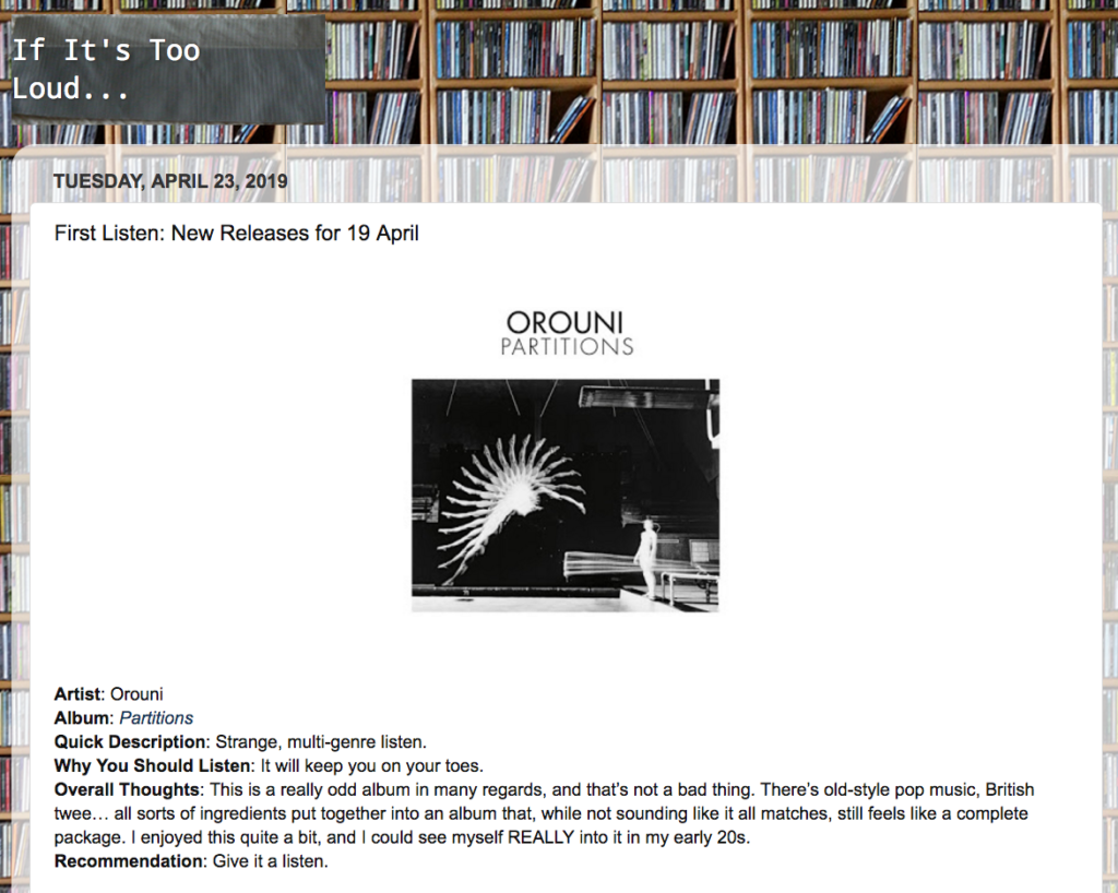 Orouni - If It's Too Loud