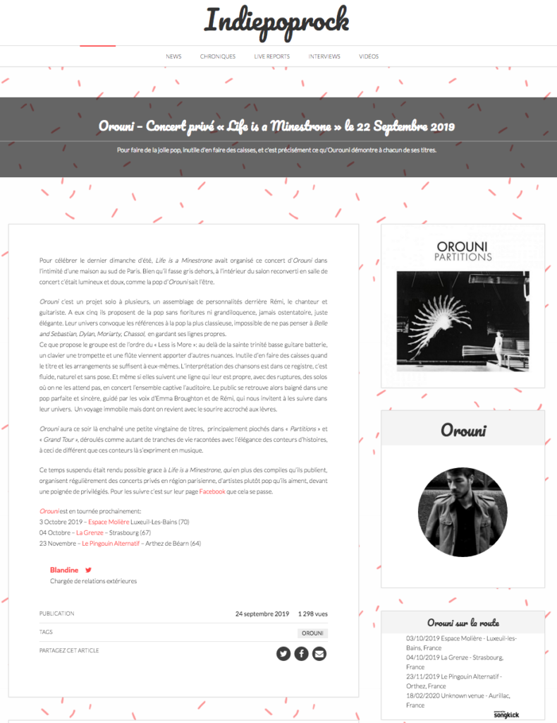 Orouni - Indiepoprock
